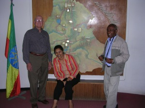 Doug, Guide and Tesfagiorgis at the National Museum