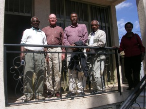 Tesfamichael, Doug, Berhane, Tesfagiorgis and Almaz at Tesfamichael's home