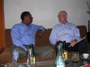 Berhane and Doug dicsussing Ethiopia's future at Berhane's home