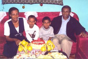 Tesfagiorgis, Almaz and Their Children Bersabel and Natnael At Home In Addis Ababa