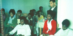 TMS students at my home in Addis Ababa in 1965; Abebe second from the left, second row, and former TMS teacher Michael Altman standing on the right.